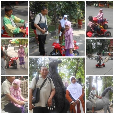 Bermain sepeda elektrik di Taman Kota Kebonrojo.