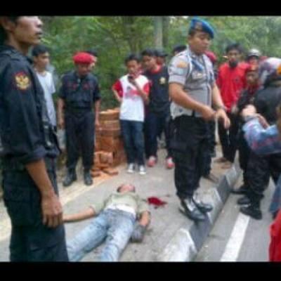 Korban konvoi massa sebuah partai di Jogja. (Courtesy of Zainal Abidin al Floresi)