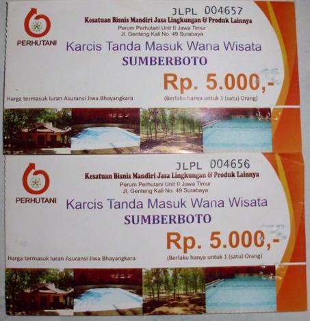 Tiket masuk wana wisata. (Foto koleksi pribadi)