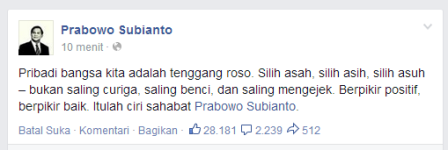 Capture status FB Prabowo Subianto.