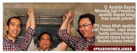 Capture gambar Prabowo Subianto fan Page.