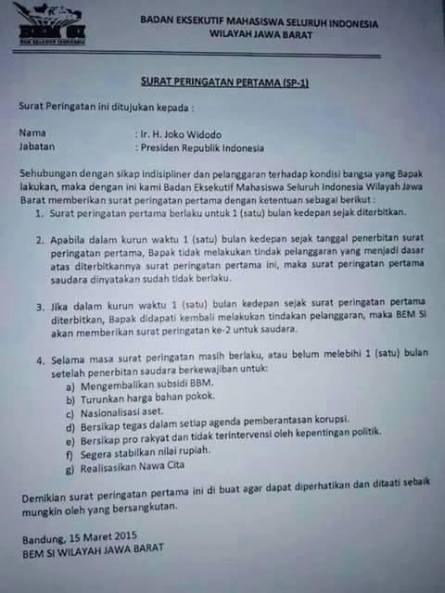 SP-1 untuk Jokowi, Presiden RI. (dok. pribadi)