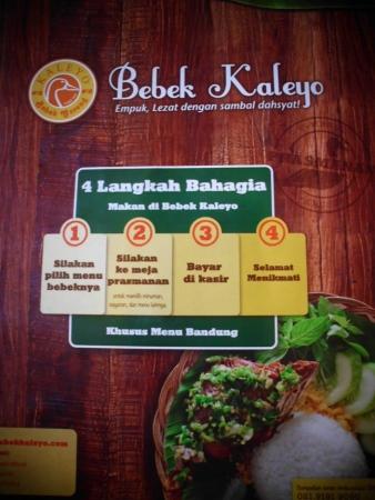 Nih, cara memesan menu Bebek Kaleyo.